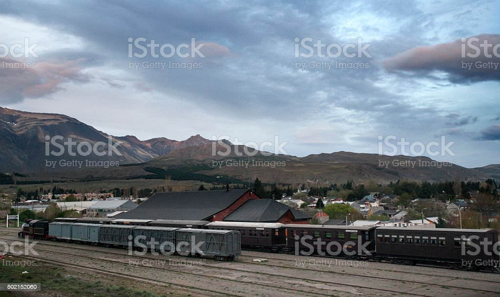 Old Patagonian Express, Esquel Railway Station, Chubut Province, Patagonia, Argentina. stock photo