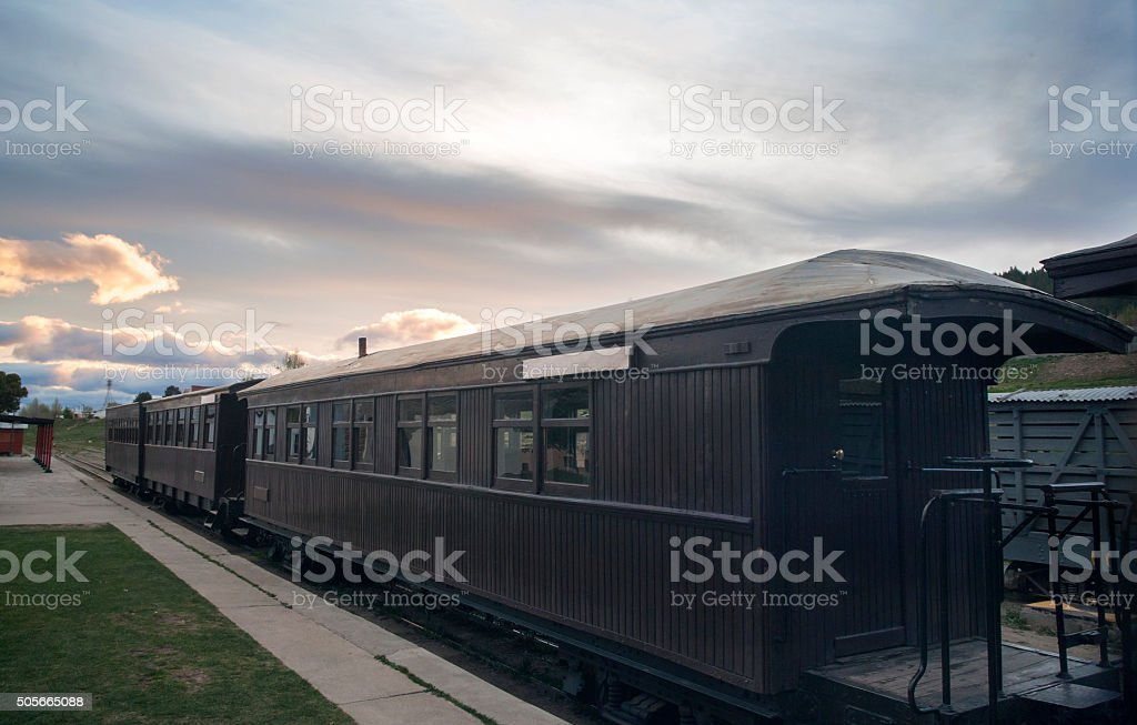 Old Patagonian Express,  Esquel Railway Station, Chubut Province, Patagonia, Argentina stock photo