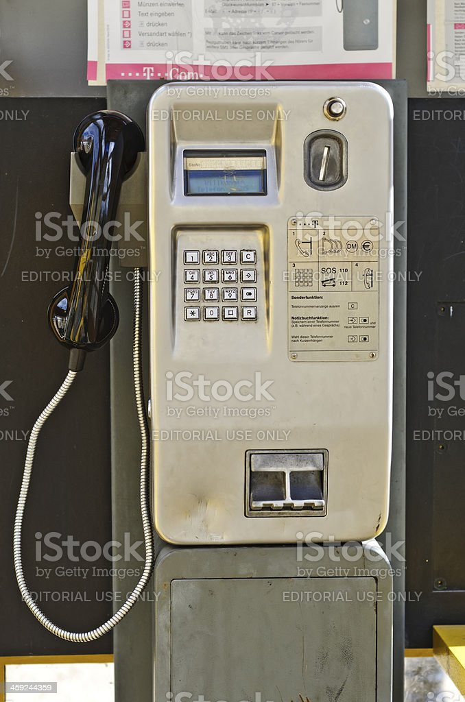 Old pay phone stock photo