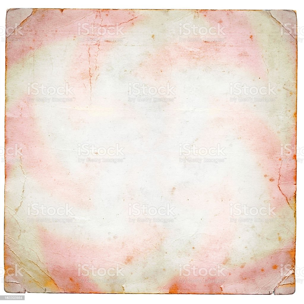 Old peice of square white paper with pink tint royalty-free stock photo