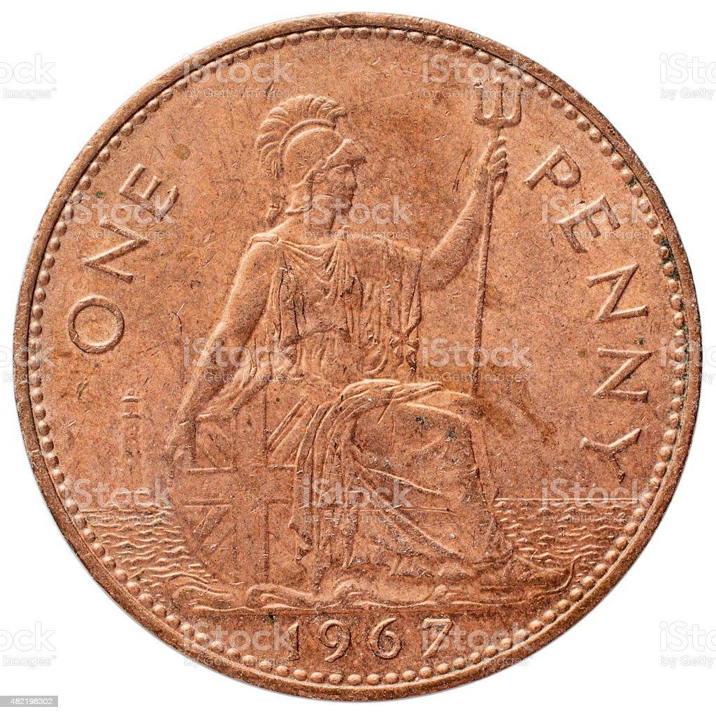 Old penny reverse 1967 Britannia stock photo