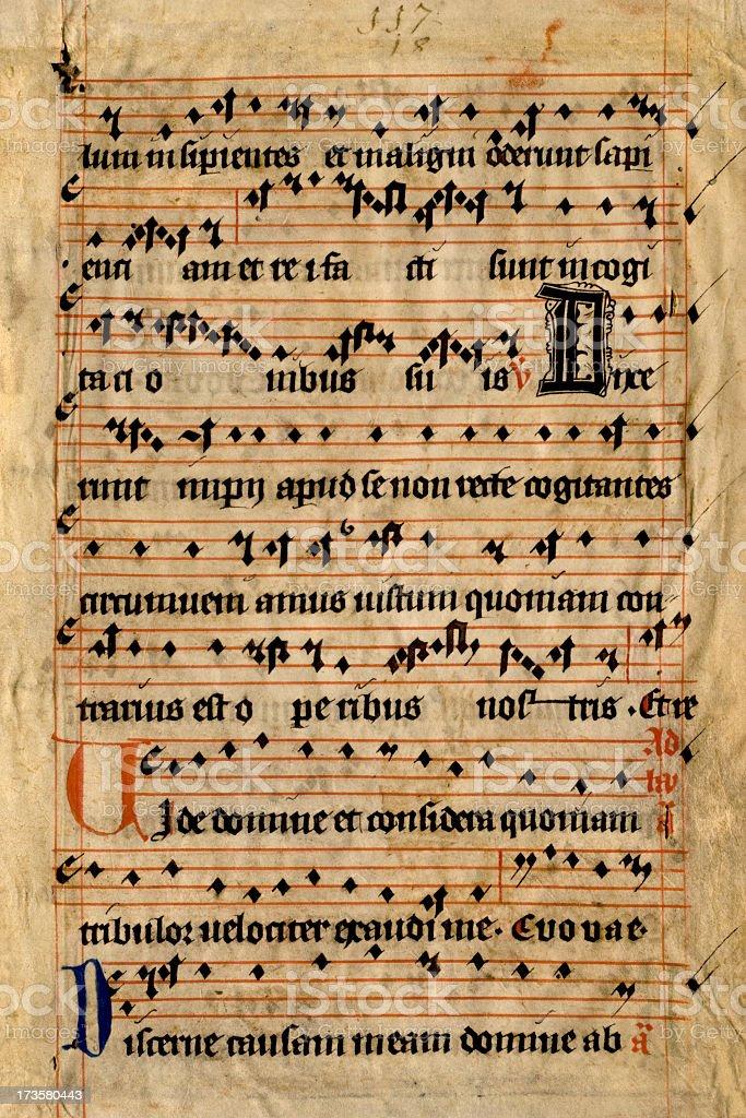 Old pergameneous sheet music stock photo