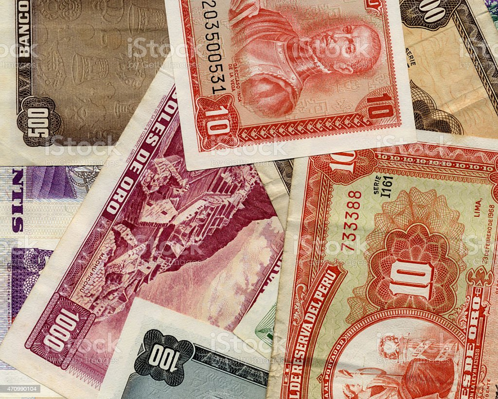Old peruvian currency banknotes stock photo