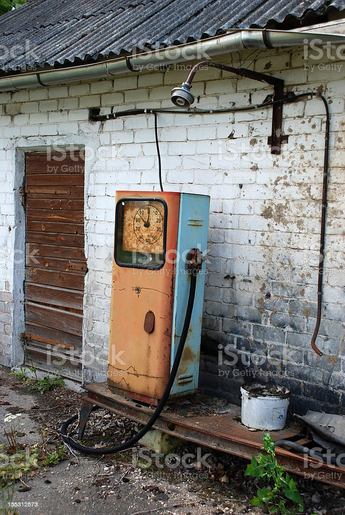 Old petrol pumping station royalty-free stock photo