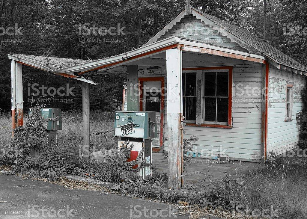 Old petrol station stock photo