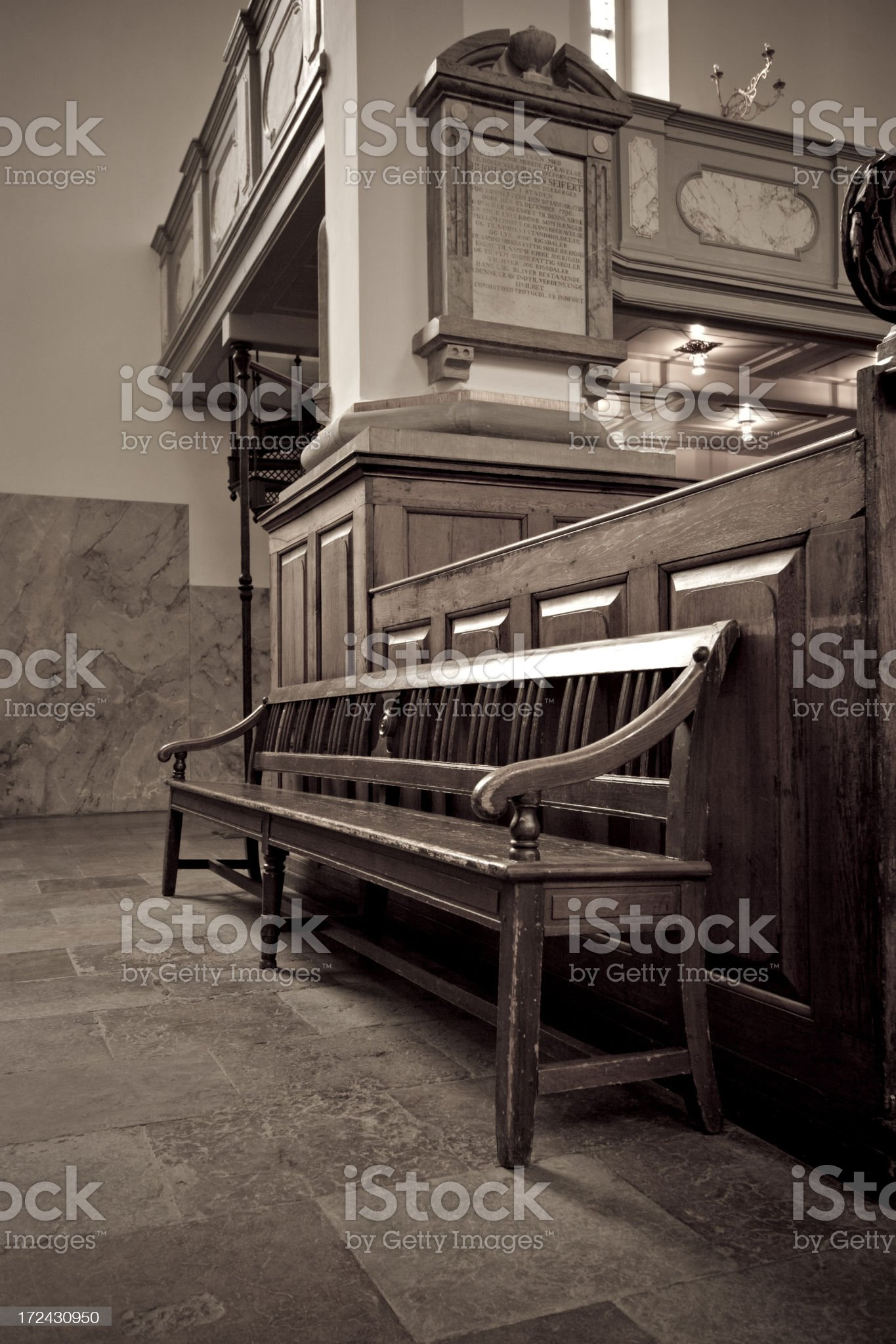 Old pew from Church in Copenhagen, Denmark royalty-free stock photo