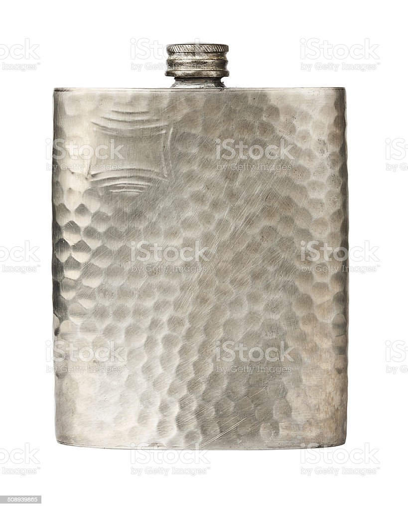 Old pewter flask stock photo