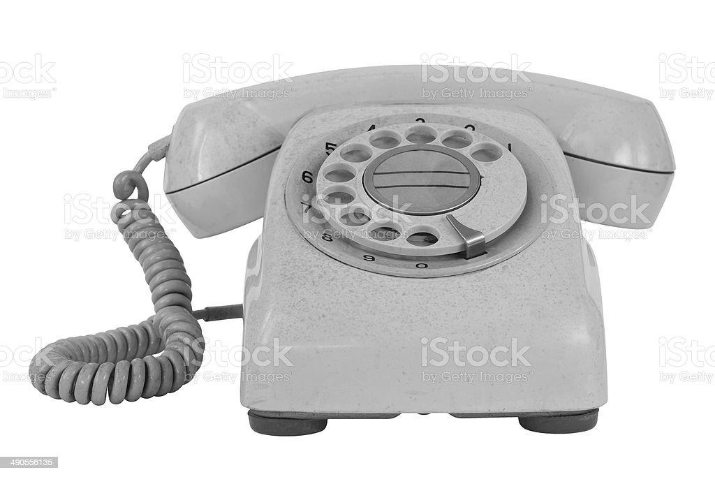 Old phone isolated on white stock photo