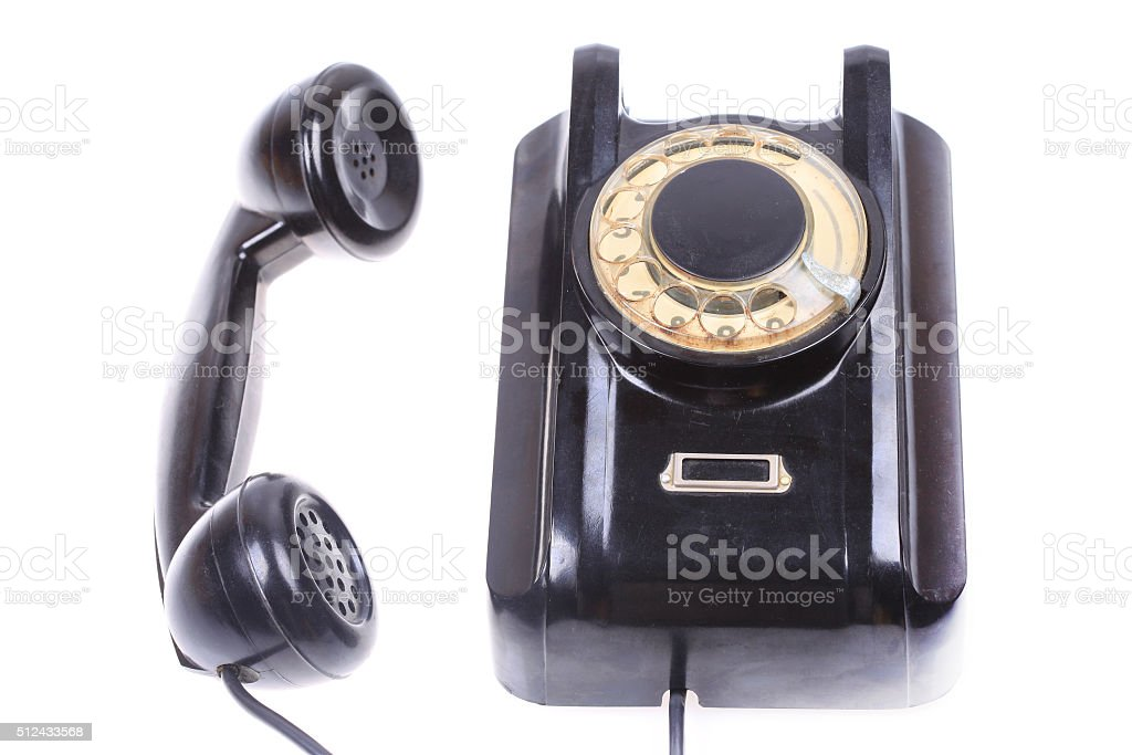 old phone with off hook, contact us concept isolated stock photo