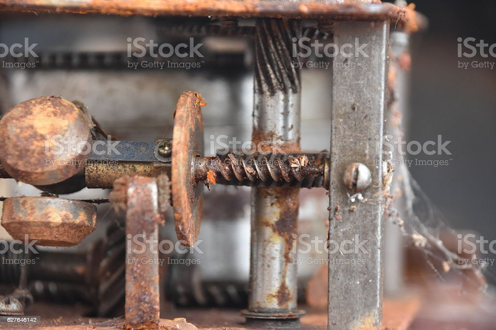 Old phonograph mechanism stock photo