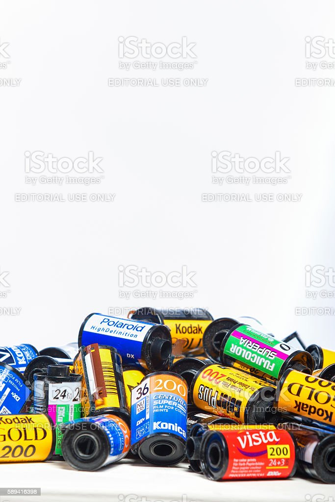Old Photo Films Cassettes of Different World Leading Manufacturers stock photo