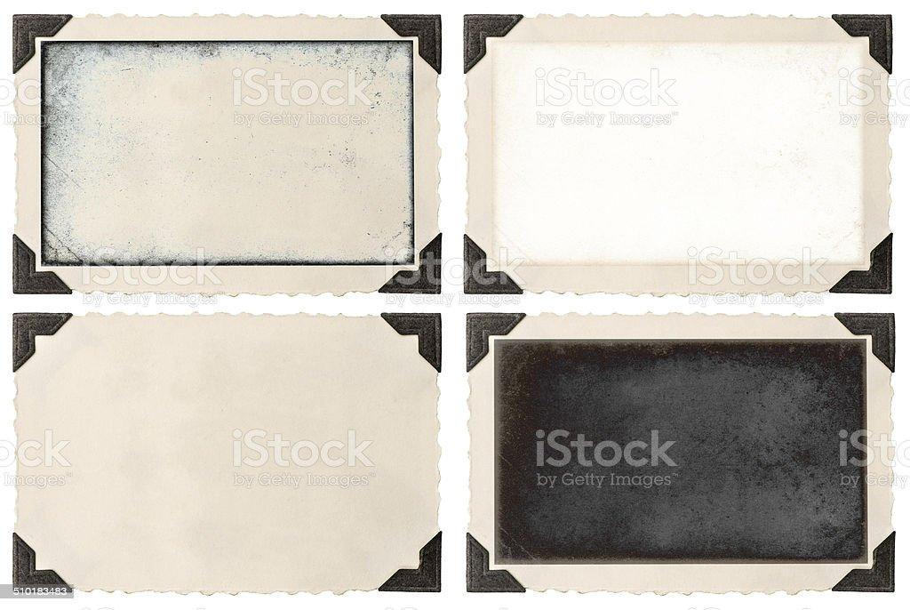 old photo frame with corner and empty field stock photo