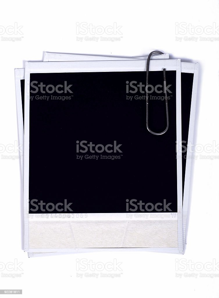 Old photo frames with metal clip stock photo