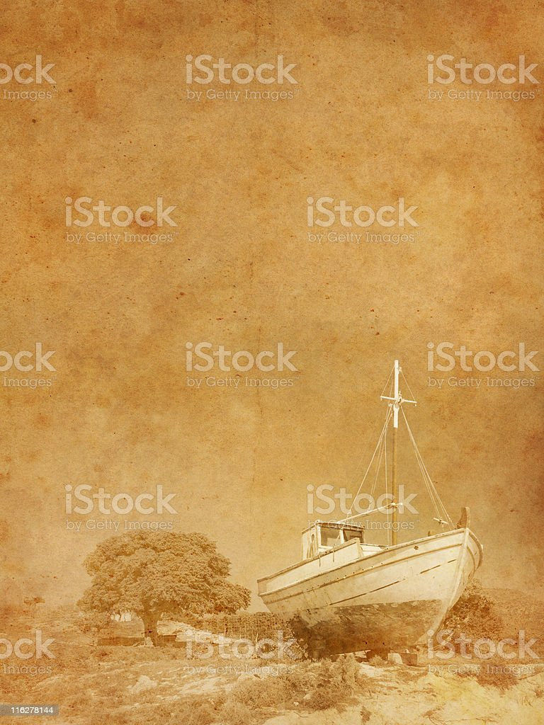 old photo of a fishing boat royalty-free stock photo