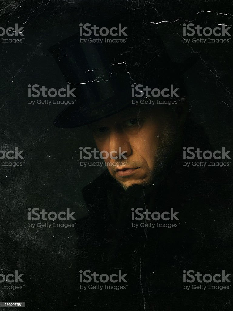 old Photo of a man with Top Hat stock photo