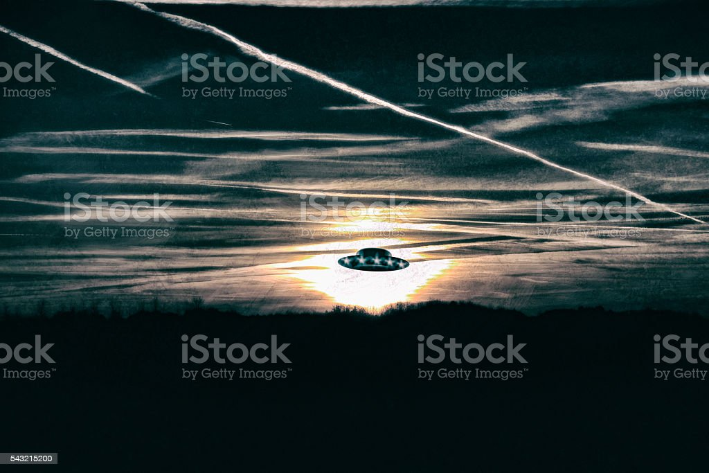 Old photo of a ufo stock photo
