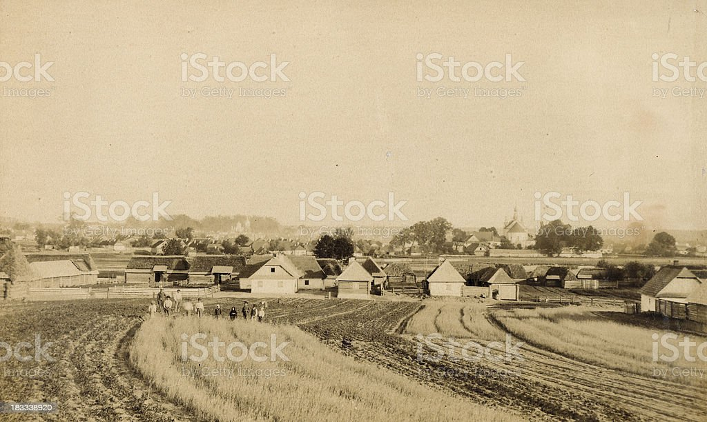 Old photo of a village royalty-free stock photo