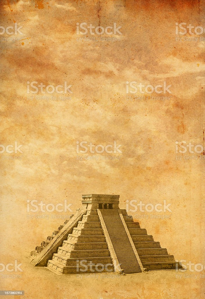 Old photo of Chichen Itza stock photo
