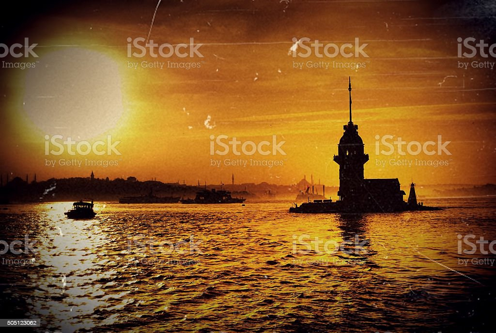 Old Photo Of Maiden's Tower at Sunset stock photo