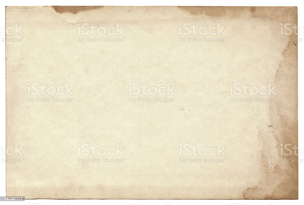 Old photo on white background. Vintage empty postcard texture stock photo