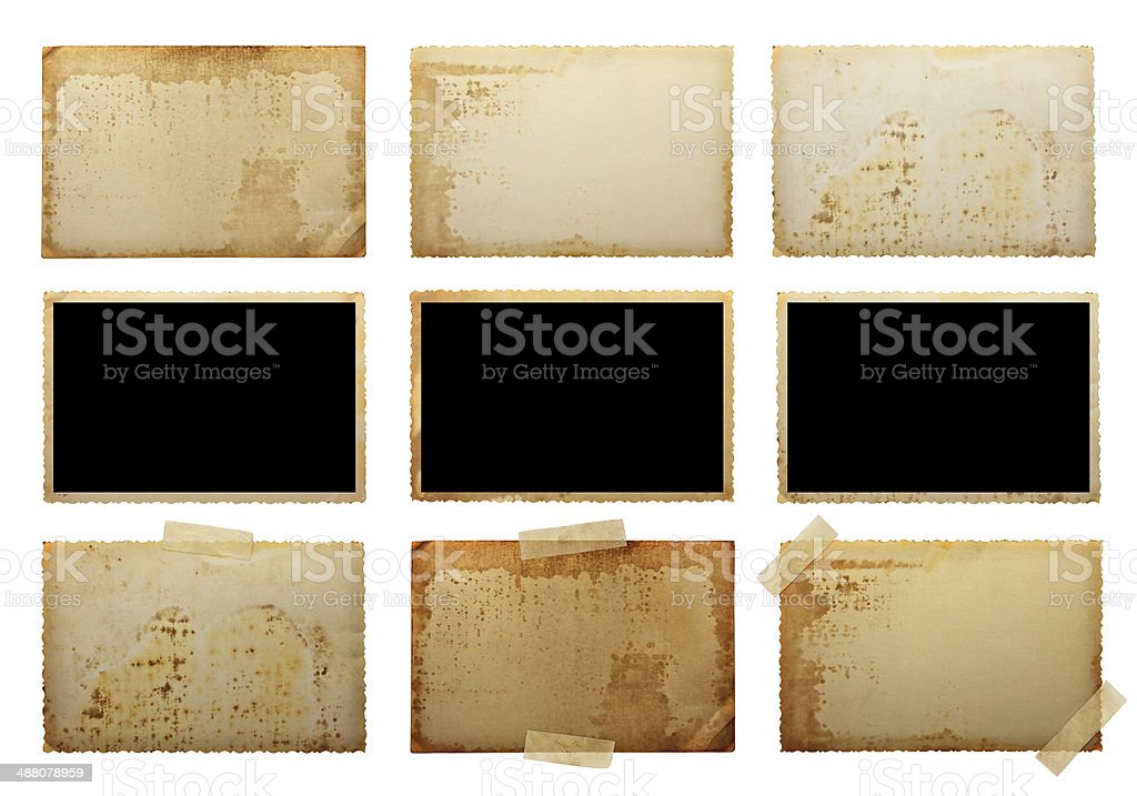old photo paper texture isolated on white background stock photo