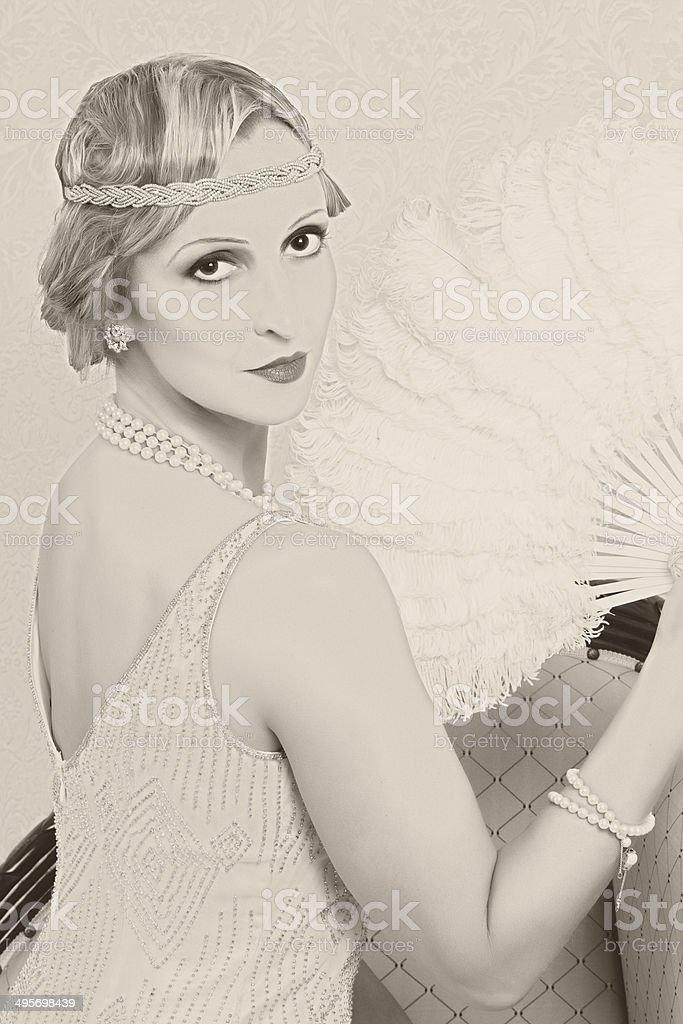 Old photo twenties style woman stock photo