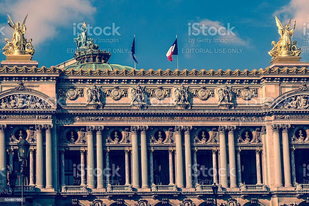Old photo with architectural details of Opera National de Paris. stock photo
