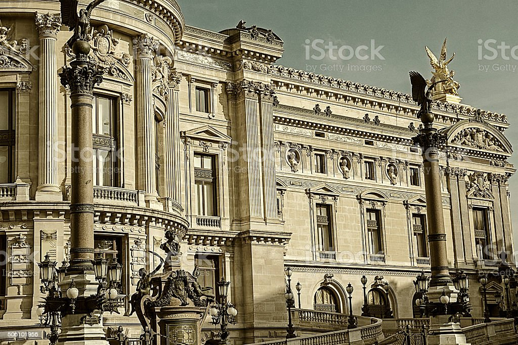 Old photo with architectural details of Opera National de Paris stock photo