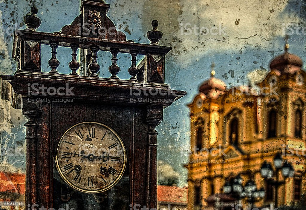 Old photo with clock and church stock photo