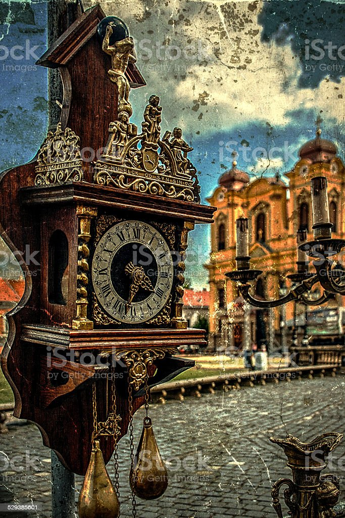 Old photo with clock stock photo