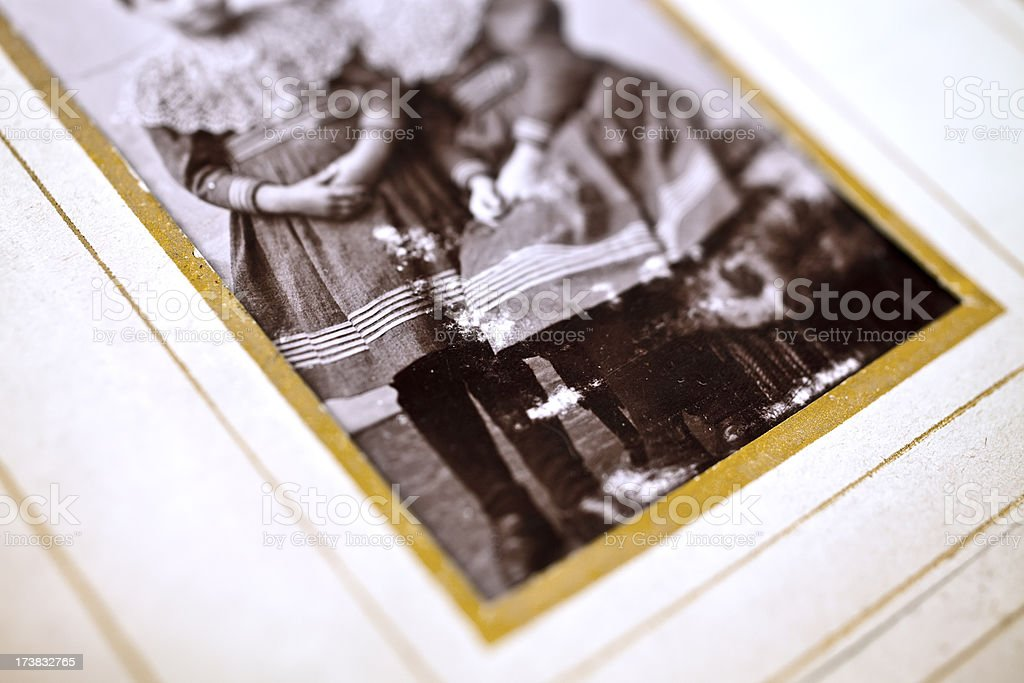 Old photograpf of two girls. royalty-free stock photo