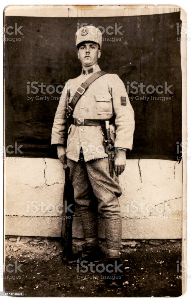Old Photograph of a Young Soldier stock photo