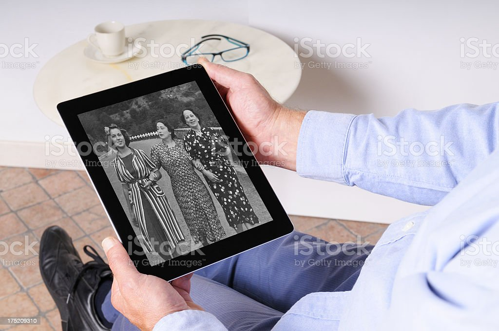 Old Photograph on Digital Tablet royalty-free stock photo