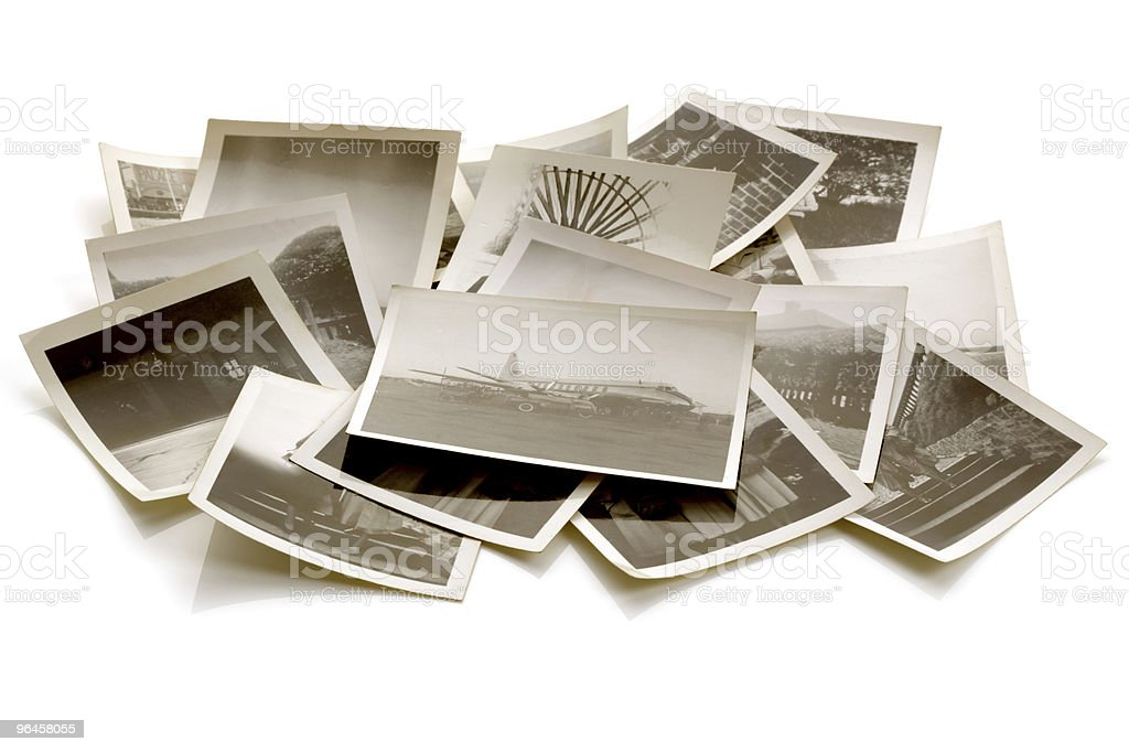 Old photographs in a pile of the Great Depression stock photo