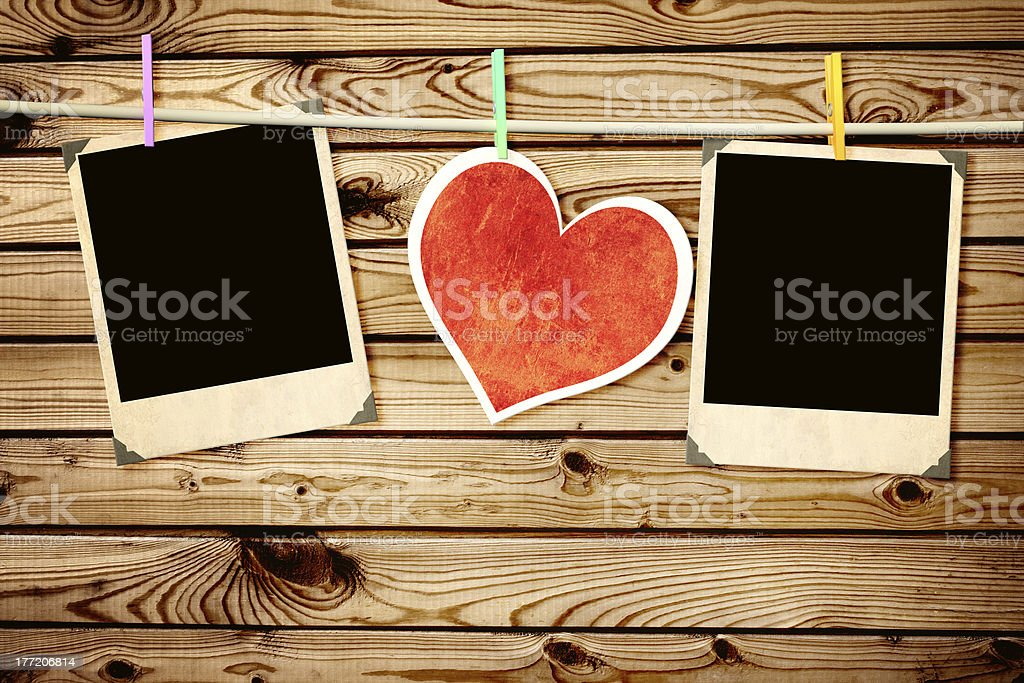 Old photos and paper heart royalty-free stock photo