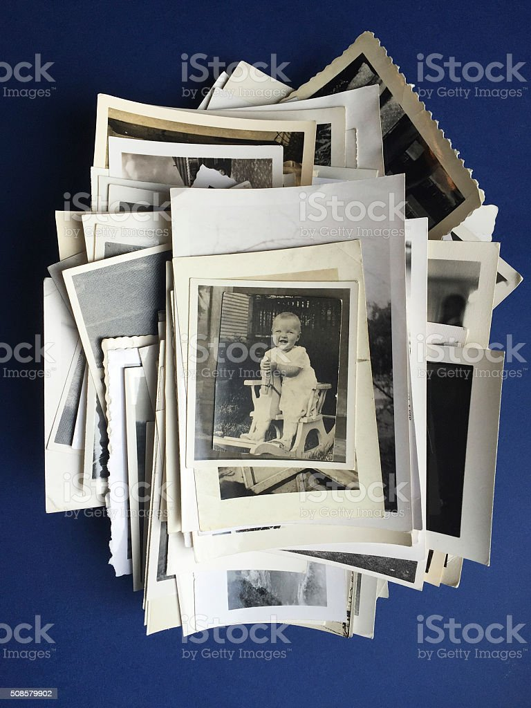 Old Photos with Photograph of Baby Girl stock photo