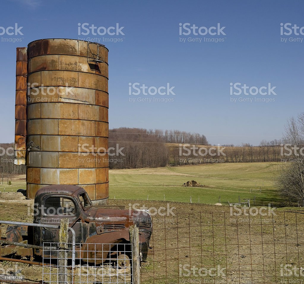 Old Pick Up Truck and Silo Composite royalty-free stock photo