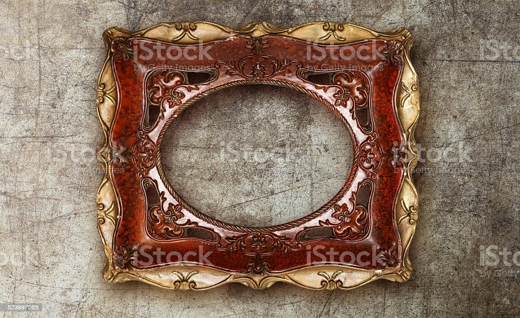 old picture frame handmade ceramic on marble ruined background stock photo