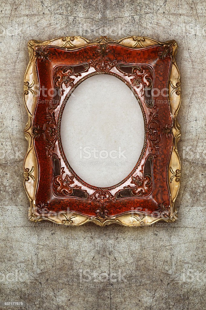 old picture frame handmade ceramic on wall ruined background stock photo