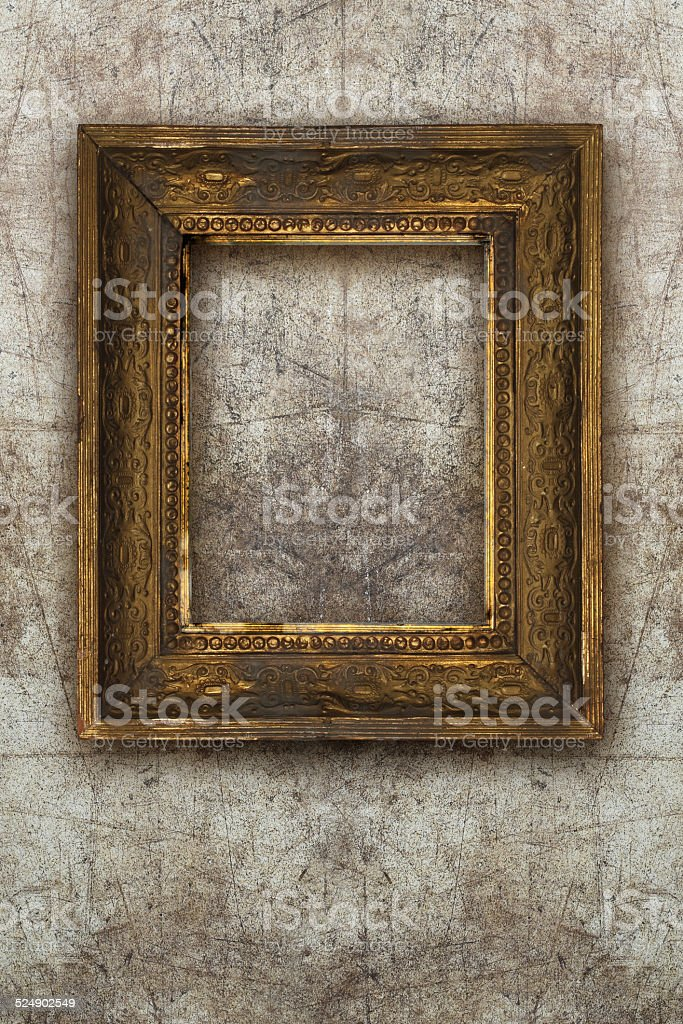 old picture frame handmade wood on wall ruined background stock photo