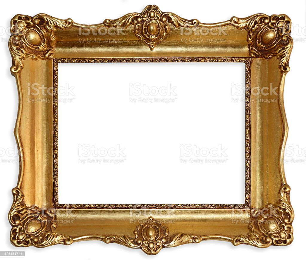 Old picture frame isolated on white background. stock photo