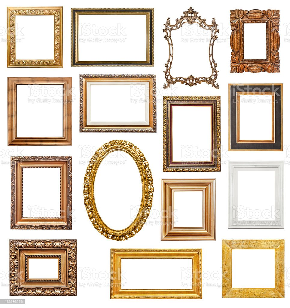 Old picture frames stock photo
