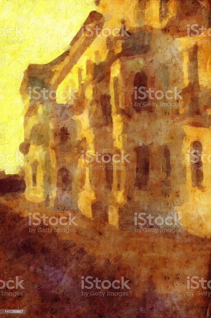 Old picture of the house at sunset royalty-free stock photo
