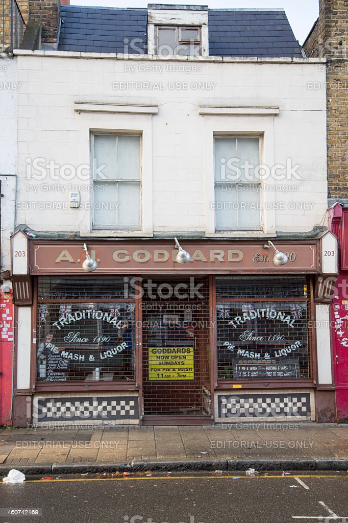 Old pie and eel shop in London stock photo