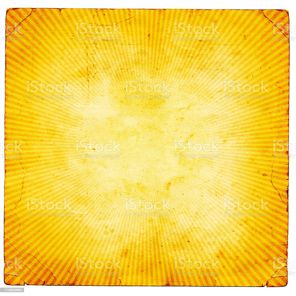 Old piece of paper with grunge sunburst pattern royalty-free stock photo