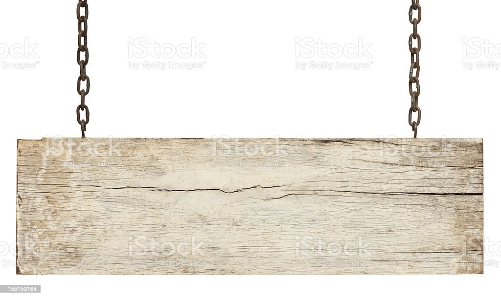 Old piece of white weathered wood signboard. stock photo