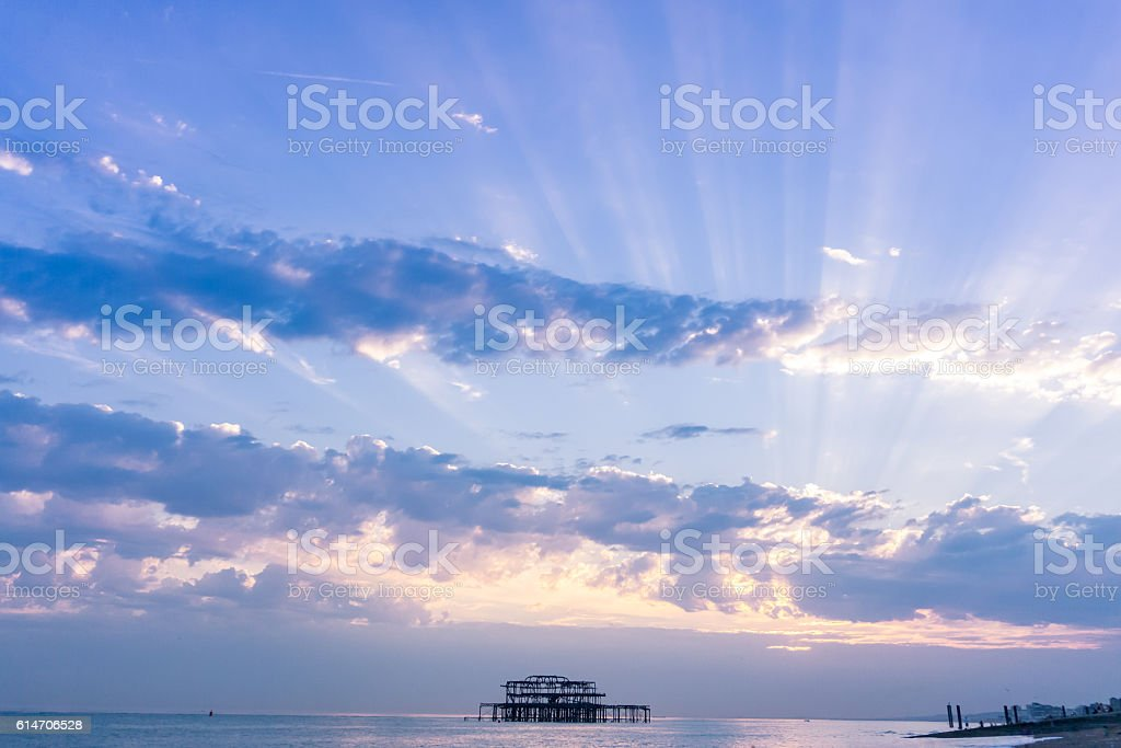 Old Pier as sunset stock photo