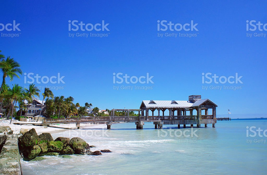 Old pier at Key West, Florida Keys stock photo