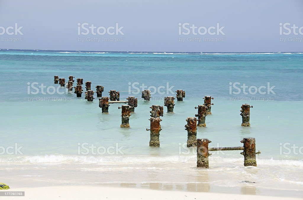 Old pier at Rodgers beach stock photo