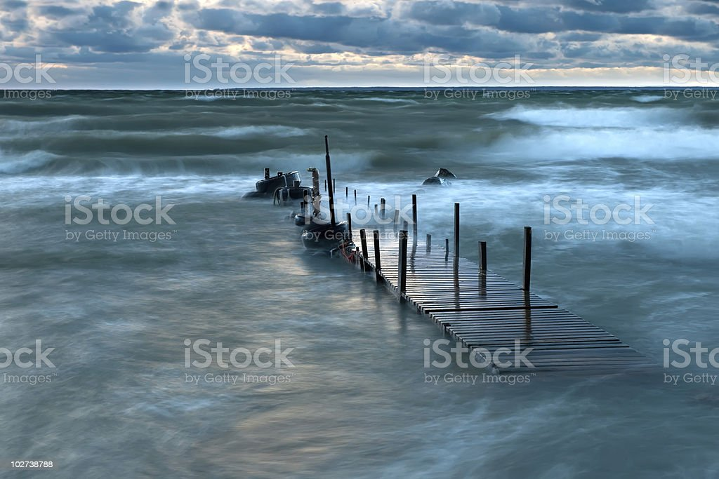 Old pier at the sea royalty-free stock photo